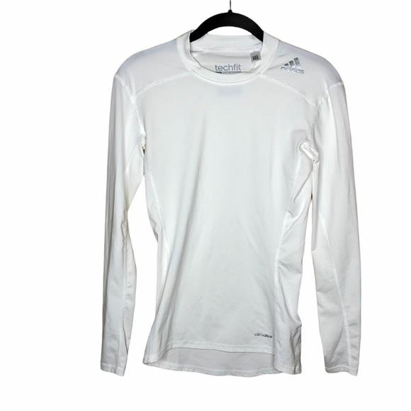 Adidas white techfit compression long sleeve shirt